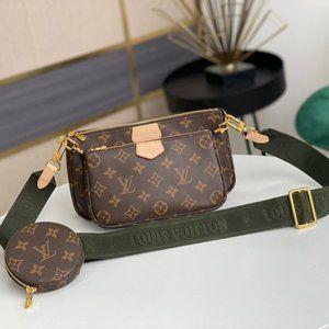 LV M44813 Multi-Pochette Bag WITH GREEN Strap